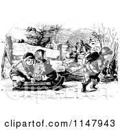 Clipart Of Retro Vintage Black And White Children Sledding Royalty Free Vector Illustration by Prawny Vintage