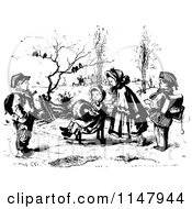Clipart Of Retro Vintage Black And White Kids Sledding Royalty Free Vector Illustration