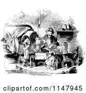 Clipart Of Retro Vintage Black And White Children Having A Tea Party Royalty Free Vector Illustration