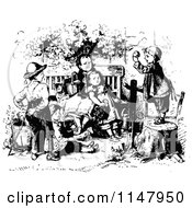 Clipart Of Retro Vintage Black And White Children Playing In A Garden Royalty Free Vector Illustration by Prawny Vintage