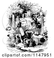 Clipart Of Retro Vintage Black And White Children Playing In A Garden 2 Royalty Free Vector Illustration by Prawny Vintage