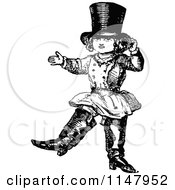 Clipart Of A Retro Vintage Black And White Child Dressed Up In Boots And A Hat Royalty Free Vector Illustration by Prawny Vintage