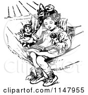 Retro Vintage Black And White Girl And Dolls In A Hammock