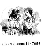 Clipart Of A Retro Vintage Black And White Girl Showing A Boy Her Puppet Royalty Free Vector Illustration