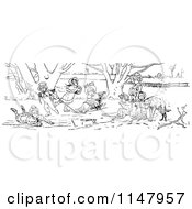 Clipart Of A Retro Vintage Black And White Children Playing On Ice Royalty Free Vector Illustration