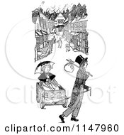 Clipart Of A Retro Vintage Black And White Children With A Wagon In A Street Royalty Free Vector Illustration by Prawny Vintage