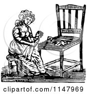Retro Vintage Black And White Woman Holding A Doll By A Chair