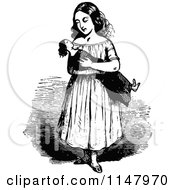Retro Vintage Black And White Girl Holding A Doll