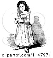 Retro Vintage Black And White Girl Holding A Doll 2