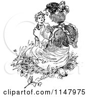 Retro Vintage Black And White Girl Kissing A Doll