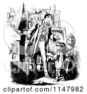 Clipart Of A Retro Vintage Black And White Father And Happy Children Royalty Free Vector Illustration