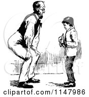 Clipart Of A Retro Vintage Black And White Father Bending To Talk To His Son Royalty Free Vector Illustration