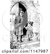 Clipart Of A Retro Vintage Black And White Girl Talking To A Man By A Door Royalty Free Vector Illustration