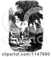 Clipart Of A Retro Vintage Black And White Father And Son Picking Fruit From A Tree Royalty Free Vector Illustration by Prawny Vintage