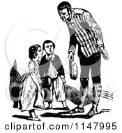 Clipart Of A Retro Vintage Black And White Father Talking To His Children Royalty Free Vector Illustration by Prawny Vintage