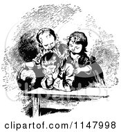 Clipart Of Retro Vintage Black And White Siblings Trying To Cheer A Boy Up Royalty Free Vector Illustration