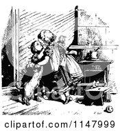 Clipart Of Retro Vintage Black And White Children Kissing Royalty Free Vector Illustration by Prawny Vintage