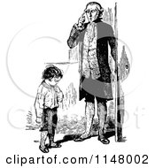 Clipart Of A Retro Vintage Black And White Father And Son Thinking Royalty Free Vector Illustration by Prawny Vintage