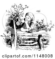 Clipart Of A Retro Vintage Black And White Thinking Girl At A Fence Royalty Free Vector Illustration