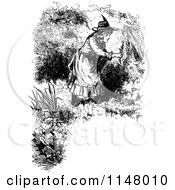 Clipart Of A Retro Vintage Black And White Border Of Girl Picking Flowers Royalty Free Vector Illustration