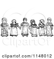 Clipart Of A Retro Vintage Black And White Girls Holding Hands Royalty Free Vector Illustration