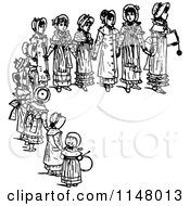 Clipart Of Retro Vintage Black And White Girls Holding Hands In A Half Circle Royalty Free Vector Illustration