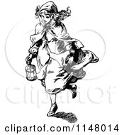 Clipart Of A Retro Vintage Black And White Girl Carrying A Lantern Royalty Free Vector Illustration by Prawny Vintage