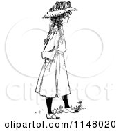 Clipart Of A Retro Vintage Black And White Girl In A Hat Royalty Free Vector Illustration