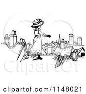 Clipart Of A Retro Vintage Black And White Girl On A Roof Royalty Free Vector Illustration