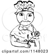 Clipart Of A Retro Vintage Black And White Girl Holding A Flower Royalty Free Vector Illustration