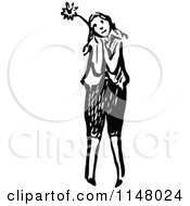 Clipart Of A Retro Vintage Black And White Girl Holding A Flower 2 Royalty Free Vector Illustration