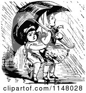 Clipart Of Retro Vintage Black And White Children With An Umbrella Royalty Free Vector Illustration by Prawny Vintage