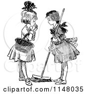 Clipart Of Retro Vintage Black And White Girls Sweeping And Talking Royalty Free Vector Illustration