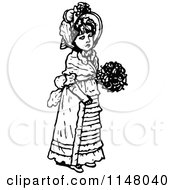 Clipart Of A Retro Vintage Black And White Girl Holding A Bouquet Royalty Free Vector Illustration