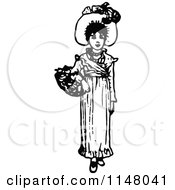 Clipart Of A Retro Vintage Black And White Girl Carrying A Flower Basket Royalty Free Vector Illustration