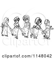 Clipart Of Retro Vintage Black And White Girls In A Line Holding Onto Their Dresses Royalty Free Vector Illustration