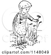 Clipart Of A Retro Vintage Black And White Girl Picking Flowers Royalty Free Vector Illustration