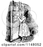 Clipart Of A Retro Vintage Black And White Girl Looking At A Cabinet Royalty Free Vector Illustration