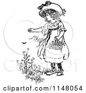 Clipart Of A Retro Vintage Black And White Girl Picking Flowers Royalty Free Vector Illustration by Prawny Vintage