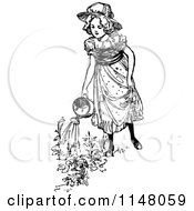 Clipart Of A Retro Vintage Black And White Girl Watering Flowers Royalty Free Vector Illustration by Prawny Vintage