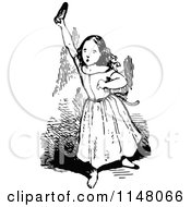 Clipart Of A Retro Vintage Black And White Girl Holding Up A Shoe Royalty Free Vector Illustration by Prawny Vintage