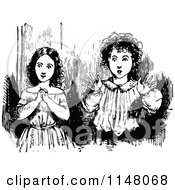 Clipart Of Retro Vintage Black And White Surprised Kids Royalty Free Vector Illustration