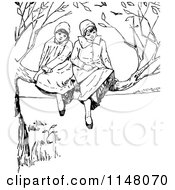 Clipart Of Retro Vintage Black And White Girls In A Tree Royalty Free Vector Illustration by Prawny Vintage