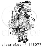 Clipart Of A Retro Vintage Black And White Girl Holding A Watering Can Royalty Free Vector Illustration by Prawny Vintage