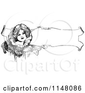 Clipart Of A Retro Vintage Black And White Girl On A Floral Banner Royalty Free Vector Illustration by Prawny Vintage