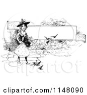 Retro Vintage Black And White Witch And Birds By A Banner