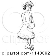 Clipart Of A Retro Vintage Black And White Girl In A Fancy Coat Royalty Free Vector Illustration