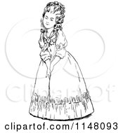 Clipart Of A Retro Vintage Black And White Lady Smiling Royalty Free Vector Illustration