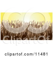 Brown Group Of Silhouetted Hands In A Crowd Clipart Illustration