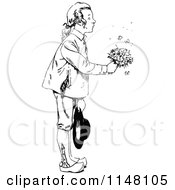 Clipart Of A Retro Vintage Black And White Boy Giving Flowers Royalty Free Vector Illustration